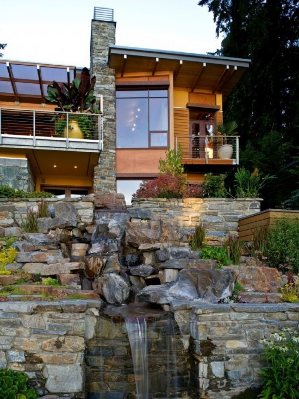 Natural House Design With Waterfall Ideas Decoration With Natural Stone 24  Pictures Ideas Of Unique Home