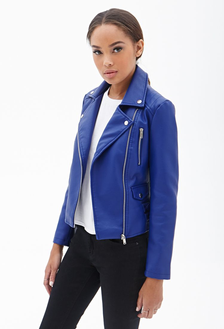 Forever 21 Faux Leather Moto Jacket in Blue (Royal)