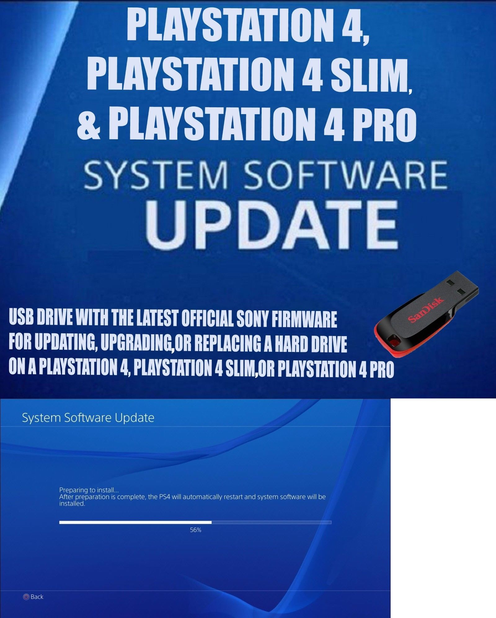 Details about PS4 UPDATE INSTALL USB FLASH DRIVE PLUG IN