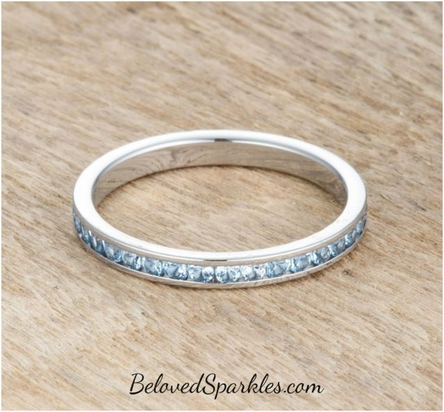 Teresa Blue Topaz Silver Eternity Stackable Ring | 1ct | Cubic Zirconia | Stainless Steel » Beloved Sparkles | Fine Cubic Zirconia Jewelry | Crystal Hair Accessories