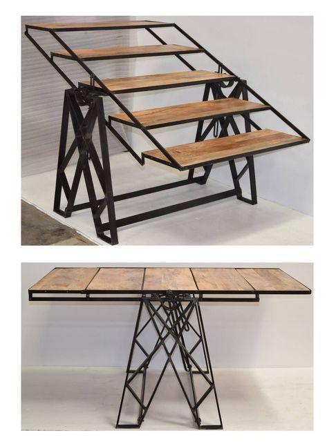 Table Etagere Industrielle Urban Table Transformable Meuble Fer