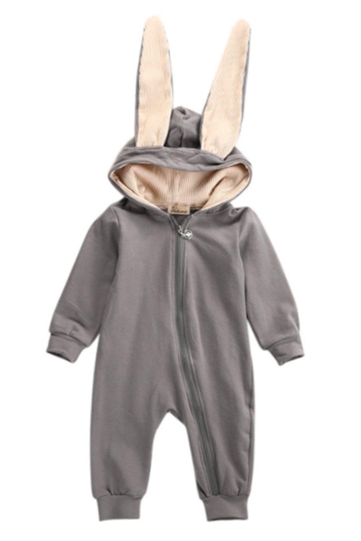Long Sleeve Onesies Newborn Infant Baby Girl Boy Cartoon 3D Ear Romper Jumpsuit Winter Warm Clothes