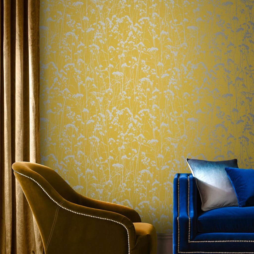 Pin By Katie Harrington On Lounge Teal Summer Wallpaper Yellow Wallpaper Mustard Wallpaper Yellow background living room