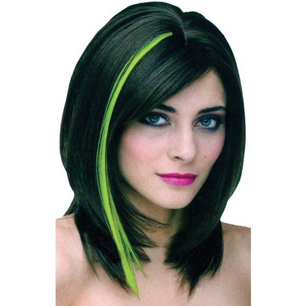 Black Hair With Green Highlights Liked On Polyvore Featuring