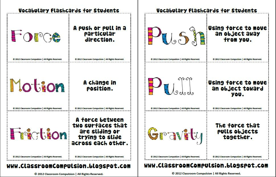 Force And Motion Vocab Cards Science Pinterest Cards School