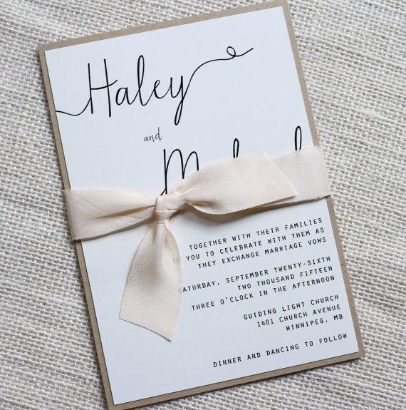 Modern Wedding Invitation Simple Wedding By LoveofCreating
