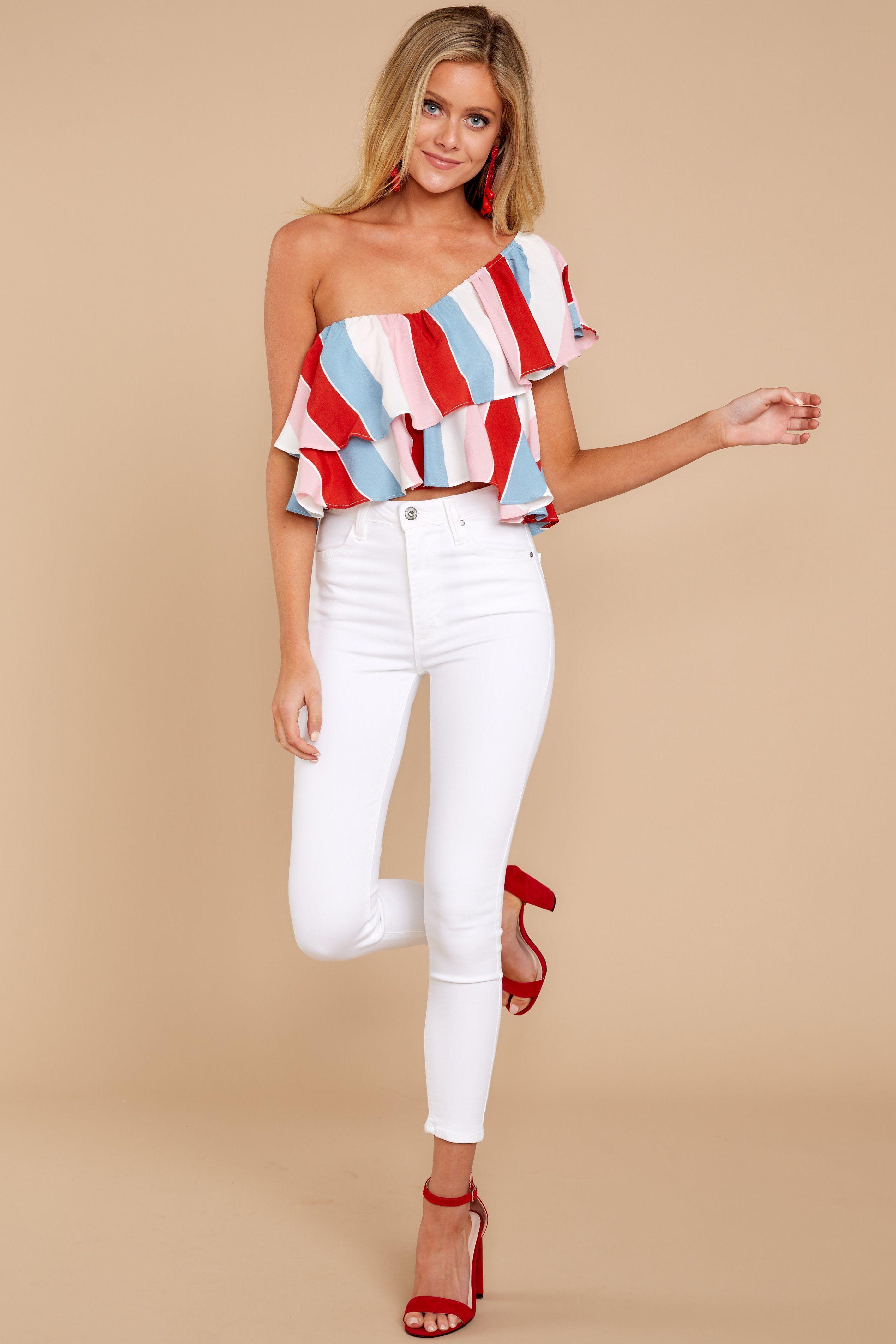 3ecd779bf77 Trendy Pink Multi Stripe Top - Cute Crop Top - Ruffle Top -  46.00 – Red  Dress Boutique