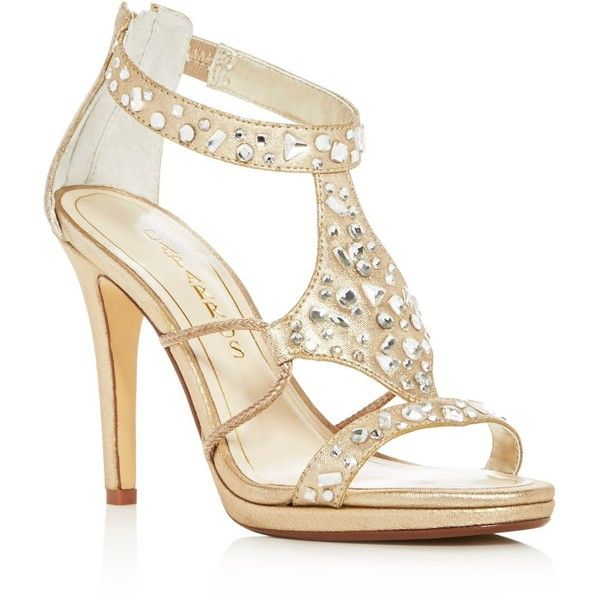 Caparros Emilie Jeweled Metallic High Heel Sandals (€58) ❤ liked on Polyvore featuring shoes, sandals, heels, gold, jewel shoes, metallic sandals, gold sandals, gold shoes and jeweled sandals
