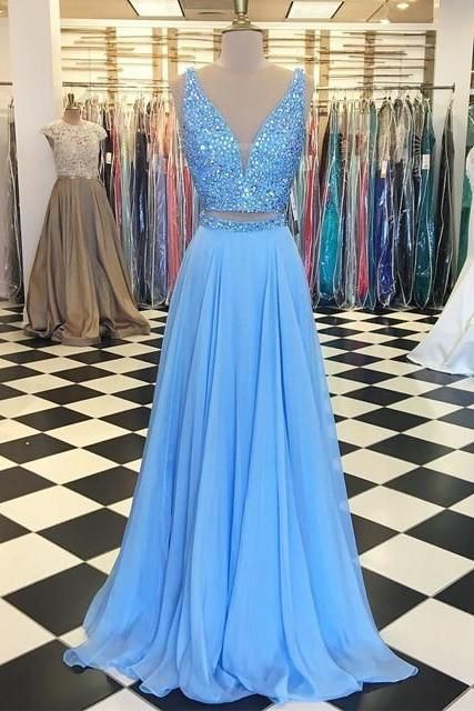 Baby Blue Prom Dresses,Two Piece Prom Dress,Chiffon Prom Gowns,Two ...