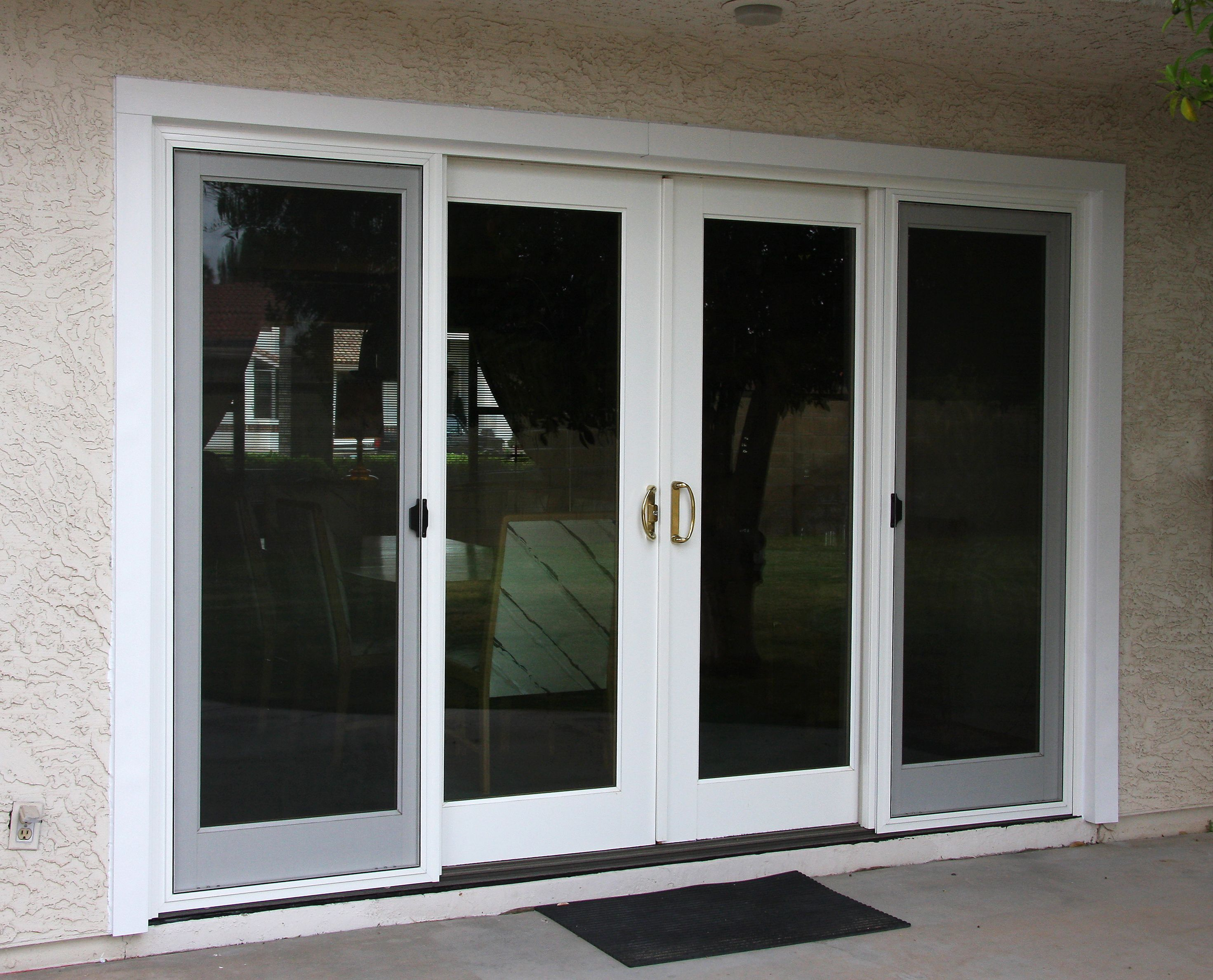 4 Panel Sliding Patio French Door In White So Beautiful Done By Krasiva Windows And Doors In Sliding Glass Doors Patio French Doors Patio Sliding Patio Doors
