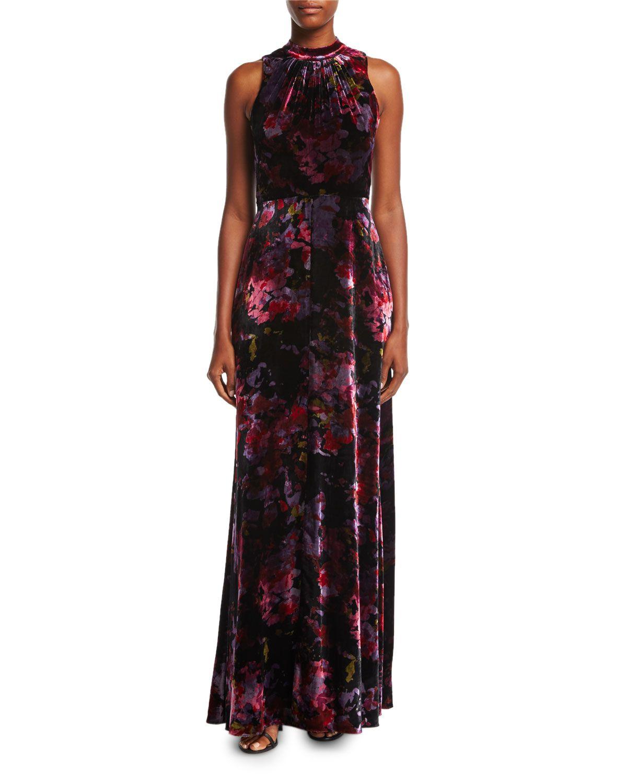 ca4dd5a777d8 Aidan by Aidan Mattox Mock-Neck Sleeveless Floral-Print Velvet Evening Gown
