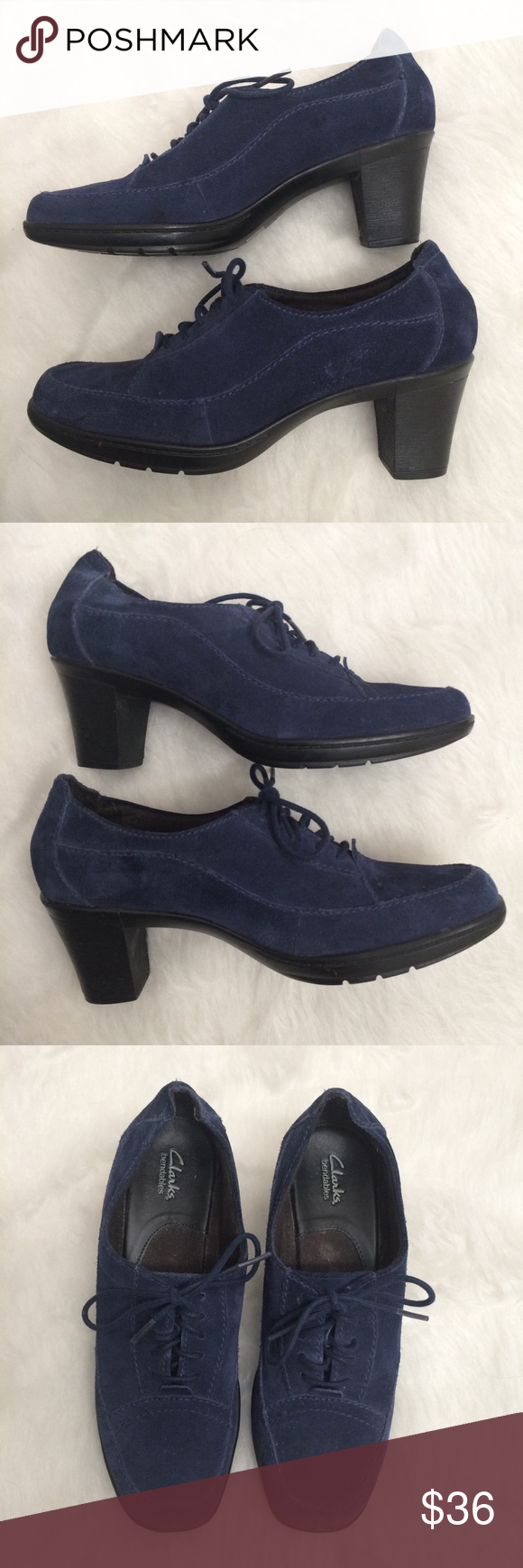 beeab84bb8b30 Clarks Navy Blue Suede Lace Up Oxford Style Heels Clarks Bendables ...