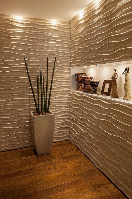 Revestimento 3d sala de estar com iluminacao mariana for Revestimento 3d sala de estar