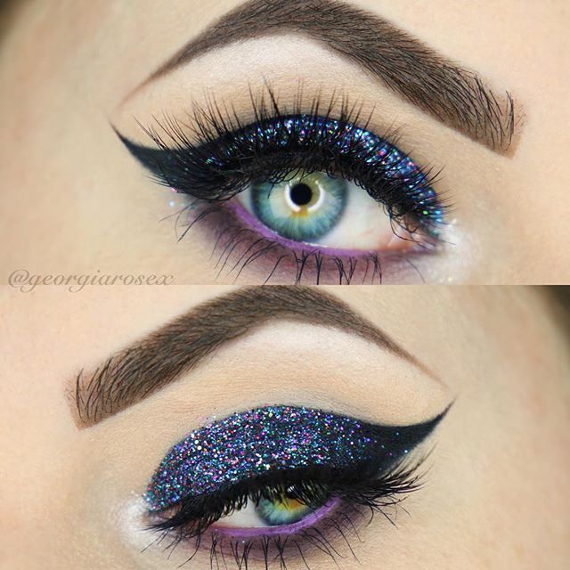 cut crease cat eye in blue with glitter, pop of purple on the lower waterline | evening makeup @georgiarosex