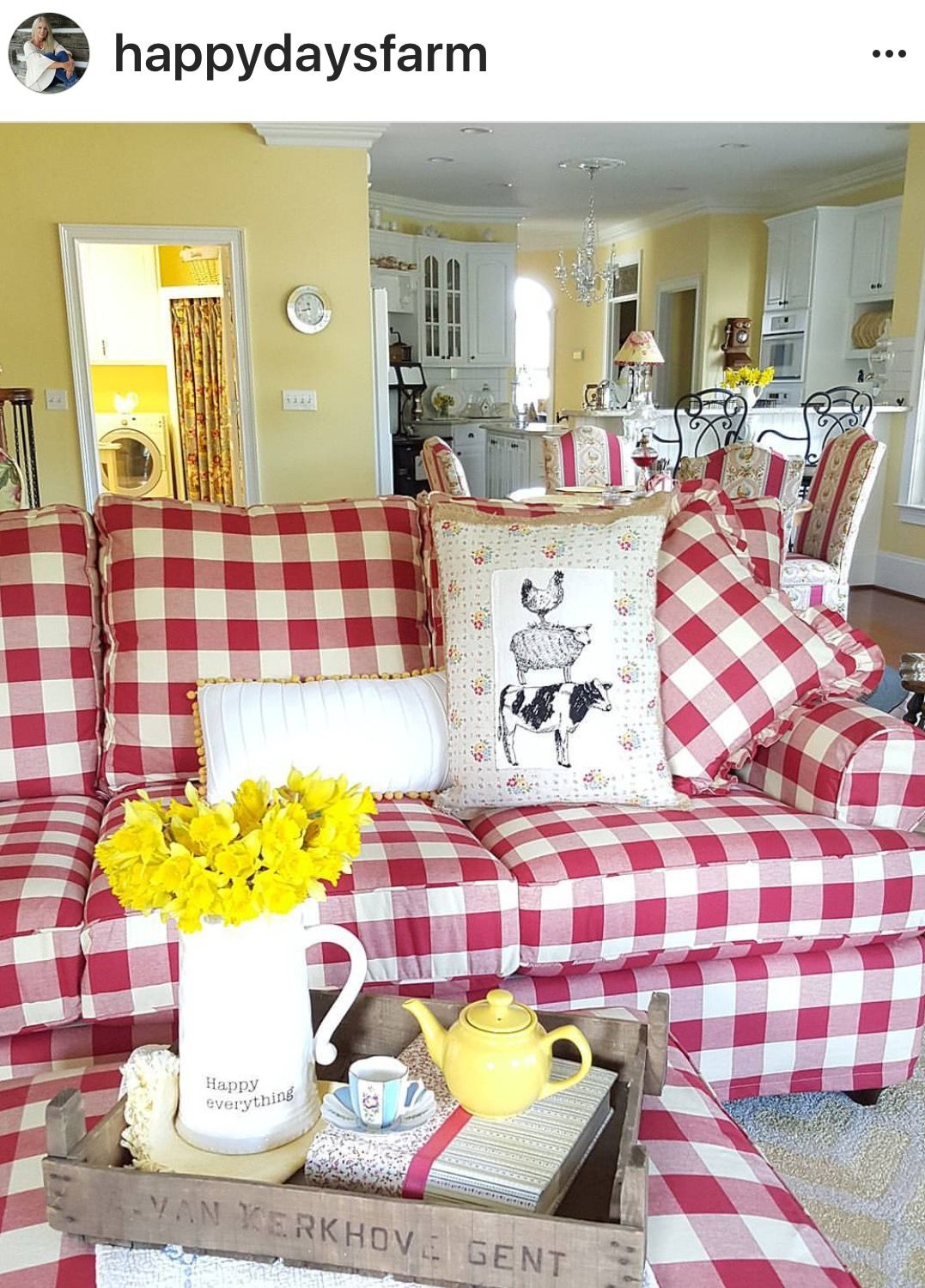 Gingham couch | Furniture in 2019 | Farm house colors, Country ...