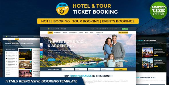 Holiday - Hotel, Tour and Travels Online Ticket Booking HTML5 ...
