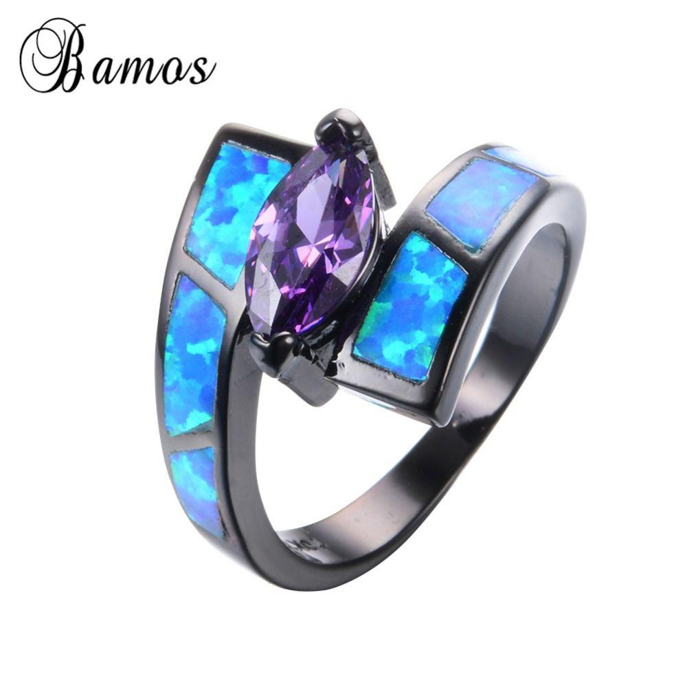 Top quality ocean blue fire opal rings for women bohemian black gold