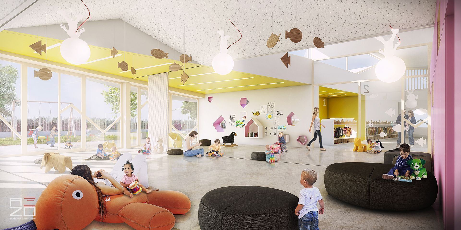 First Prize Competition Kindergarten Visualization Arquitectura Render Visualization
