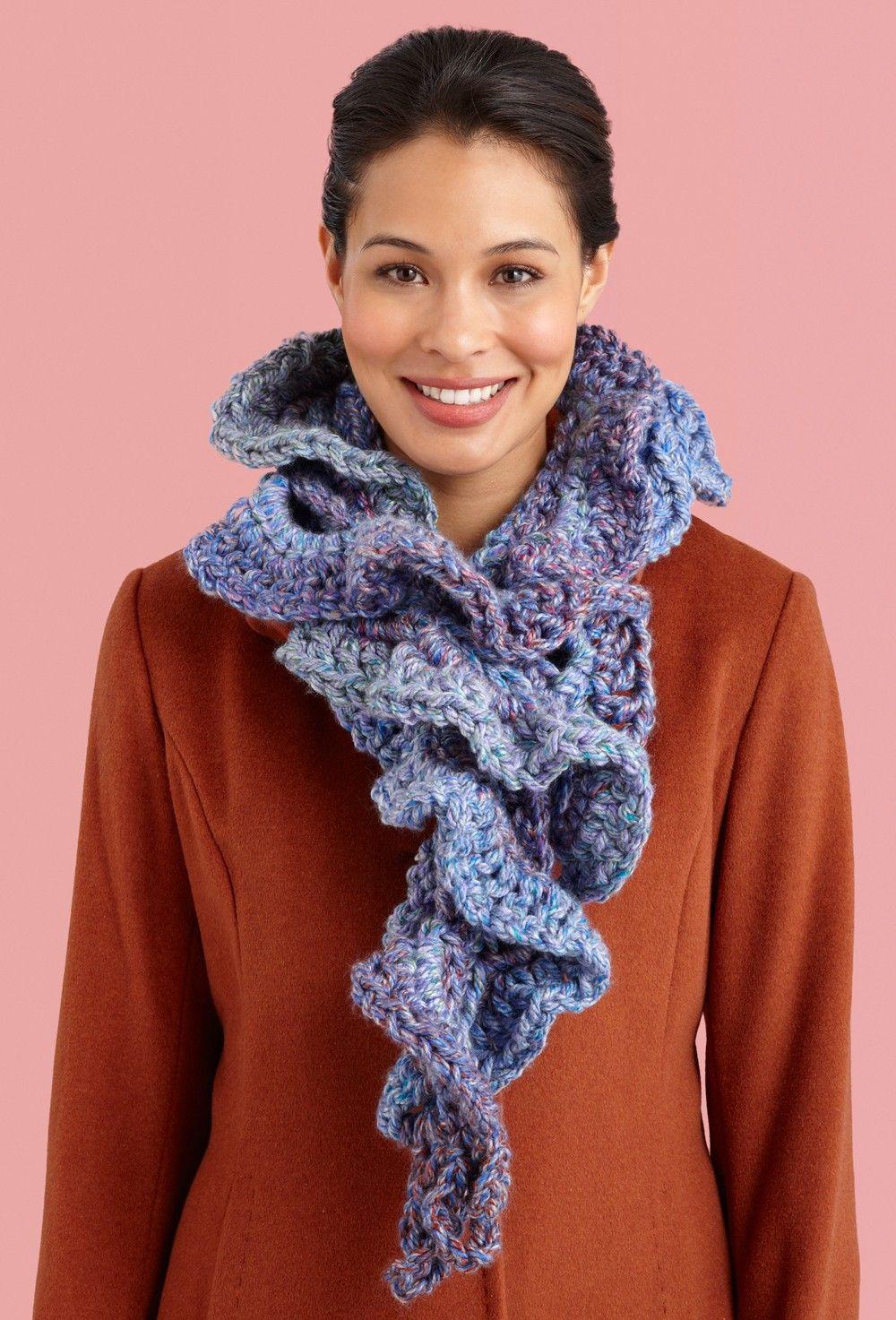 Ruffled Scarf Pattern (Crochet) - Patterns - Lion Brand Yarn   ch ...