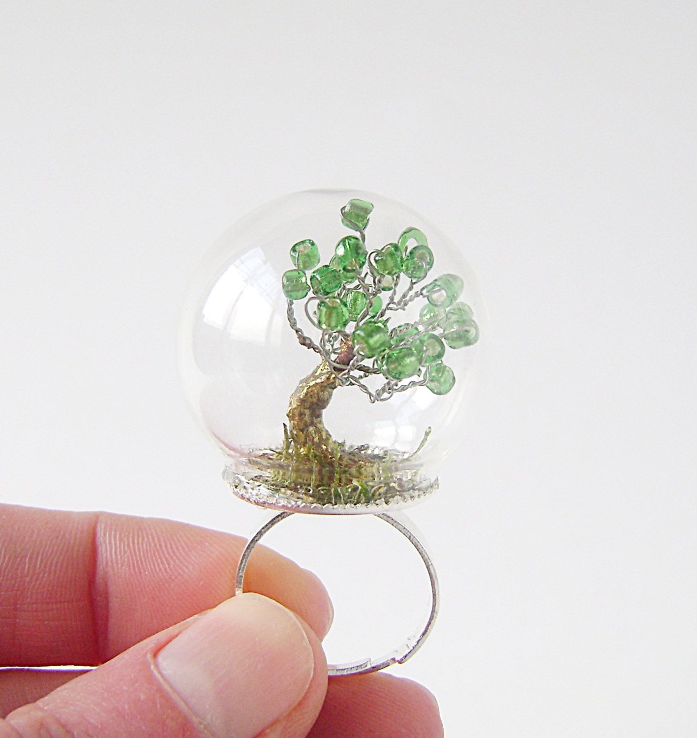 Globe Ring Glass Dome With Shiny Silver Adjustable Ring Base  # Terrarium Dangle