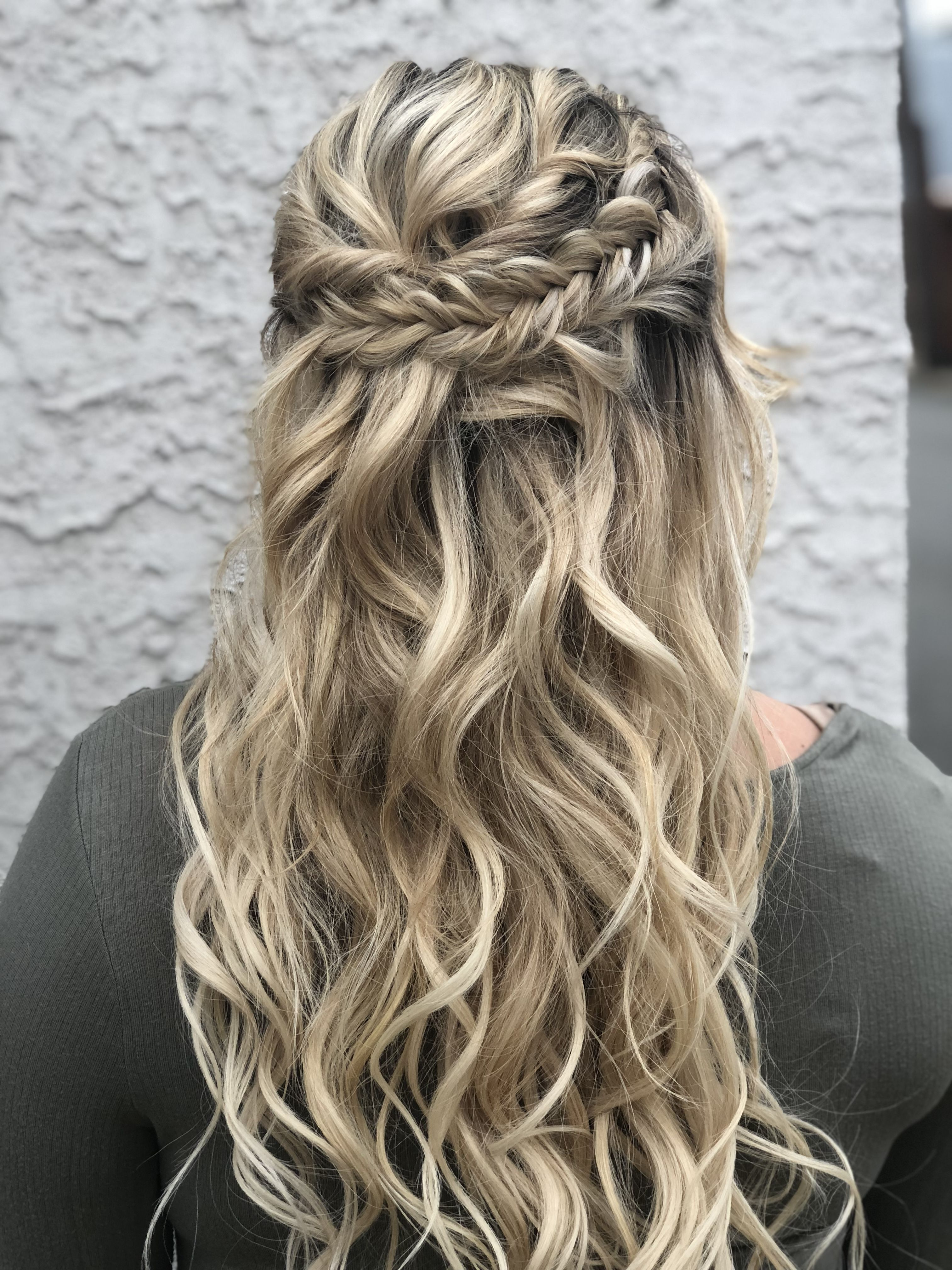 Half Up Half Down Bride Hair Braids Long Hair Half Updo Half Updo Hairstyles Bohemian Bridal Hair