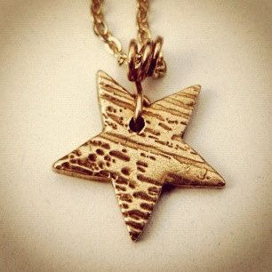 Bronze Wood Grain Star Necklace on Etsy, $11.00