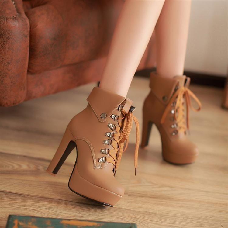 chaussures nike talons hauts brun orange