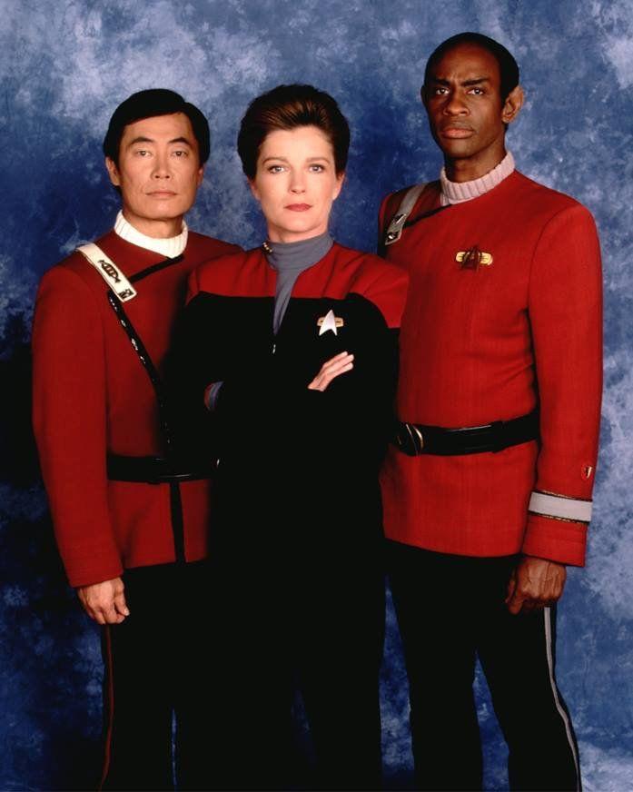 Sulu, Tuvok, and Janeway.