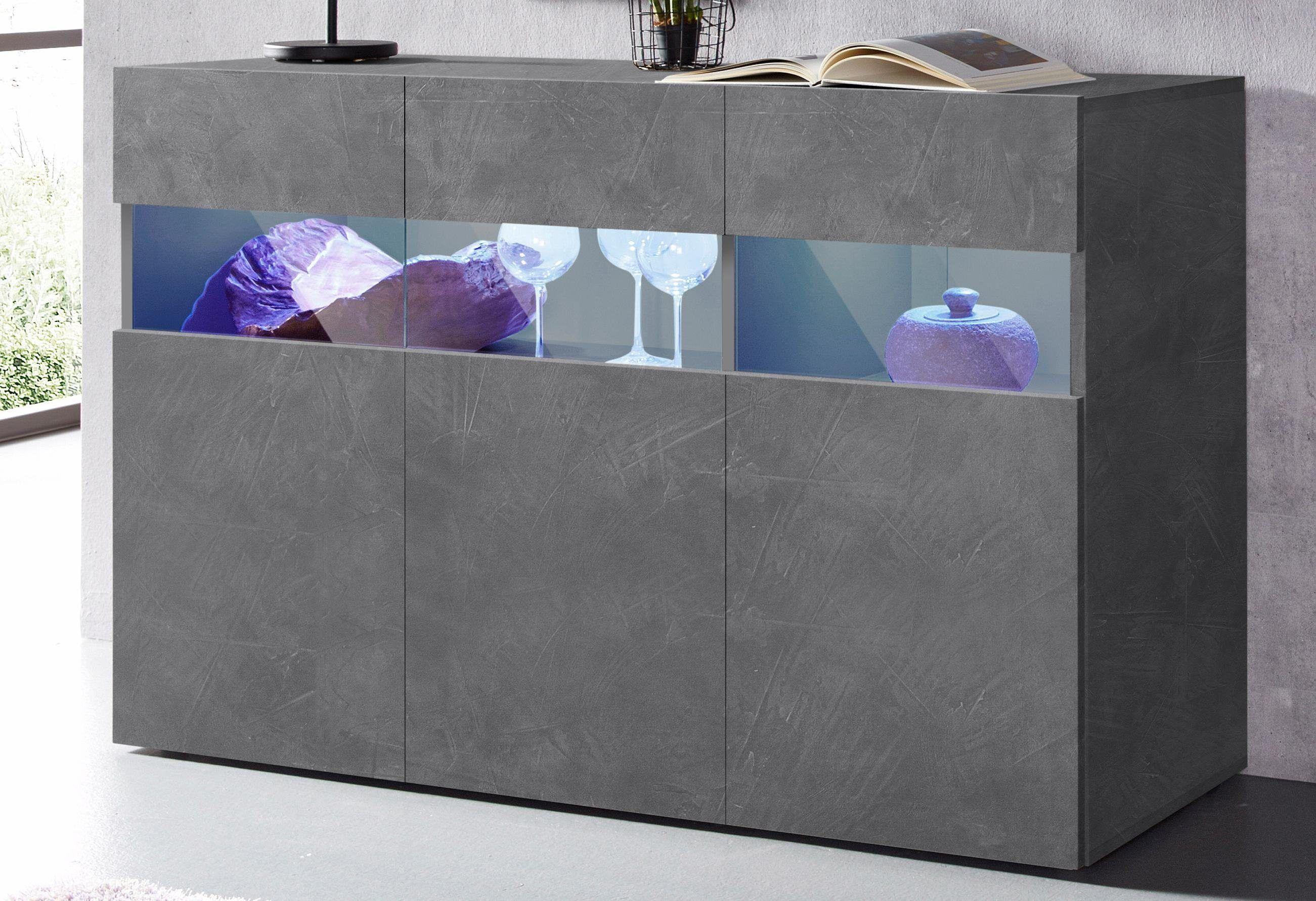 Sideboard Wohnzimmer ~ Tecnos sideboard grau hochglanz fronten fsc zertifiziert jetzt