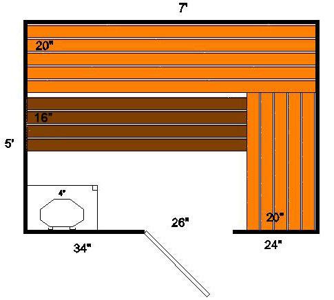 5 X7 Sauna Design Plan With A Single Top L Bench Sauna Design Indoor Sauna How To Plan