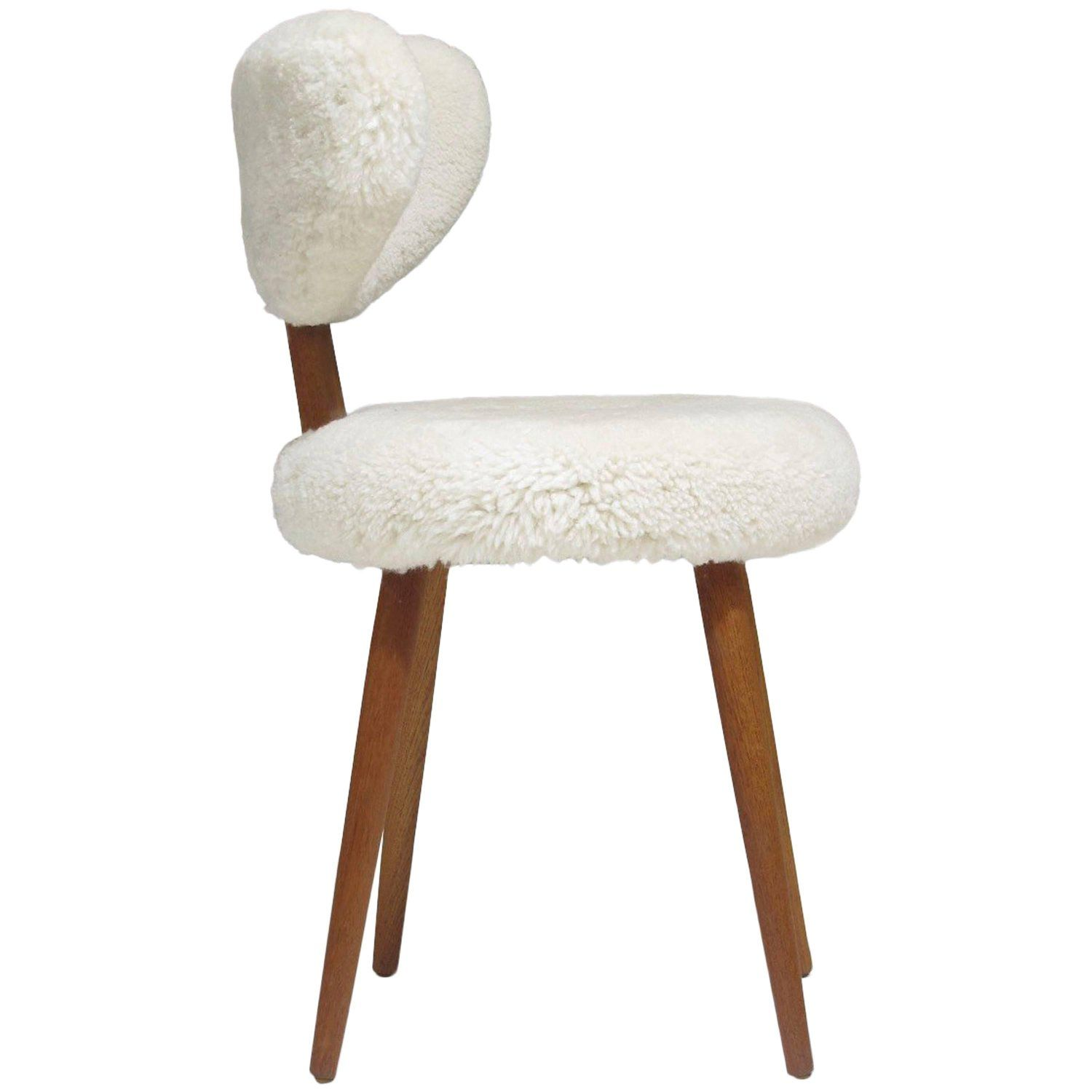 Mid Century Danish Vanity Chair In Shearling Lambskin From A