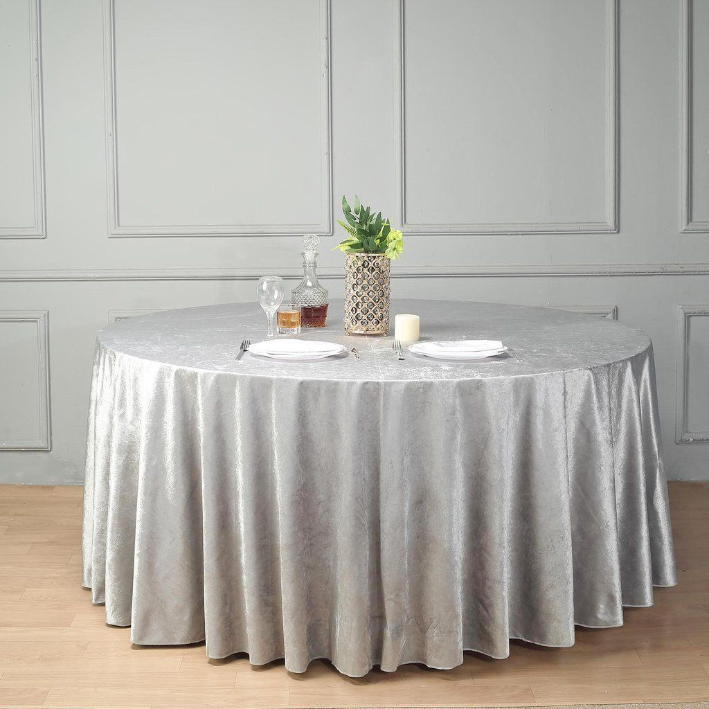 120 Premium Velvet Round Tablecloth Silver In 2020 Silver