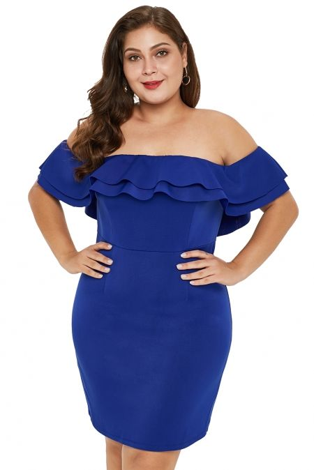 Blue Layered Ruffle Off Shoulder Plus Size Dress in 2019 ...