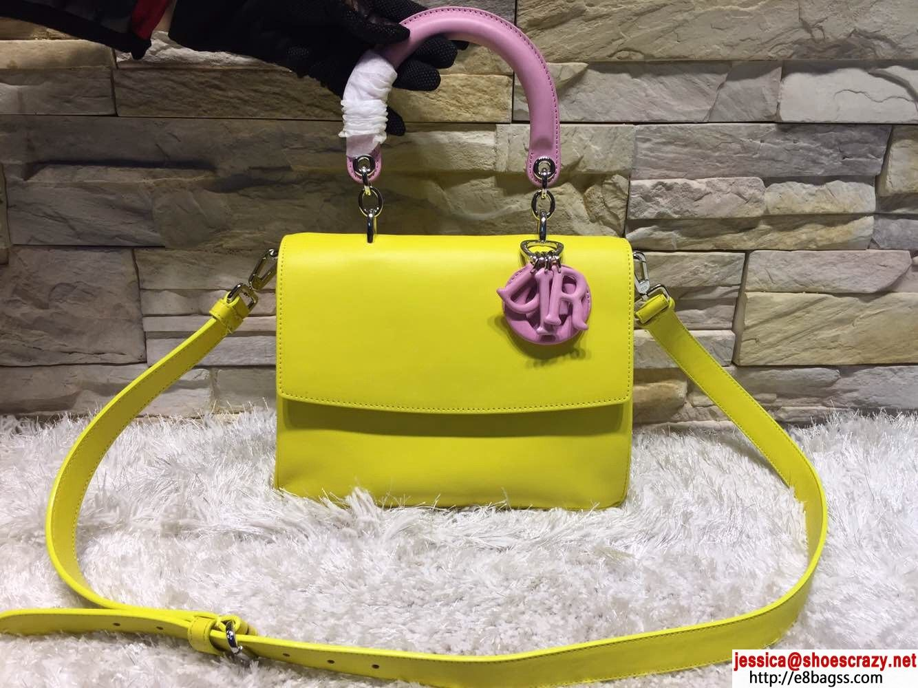 0ced6ad861 Be Dior Diorissimo Flap Bag Two-Tone Bright Yellow and Rose Dragee 2015