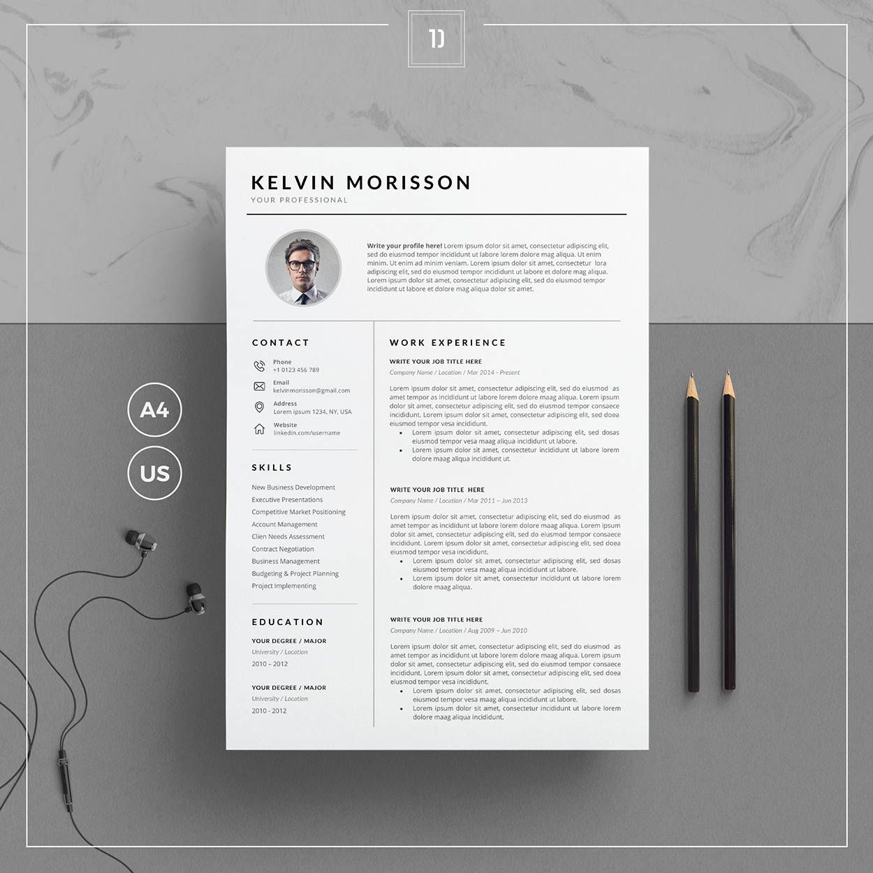 Resume Template/CV Template + Cover Letter for MS Word