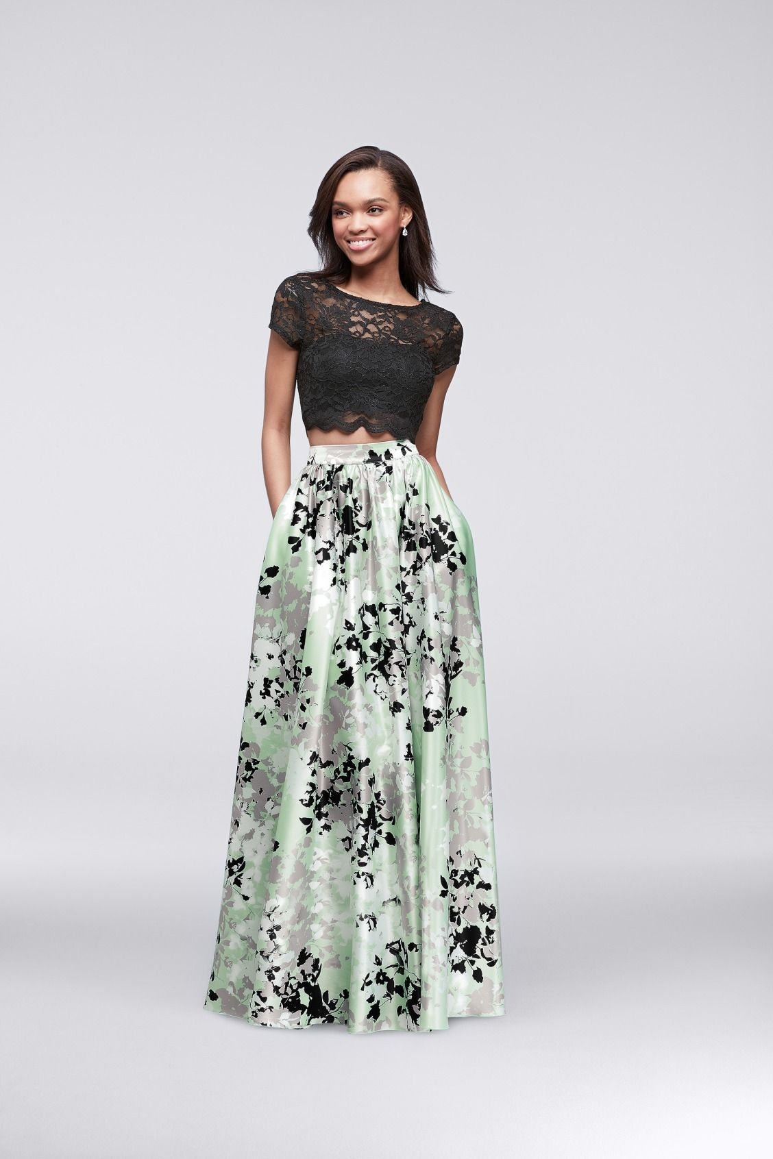 Green with envy over this two-piece floral prom dress. Shop this ...