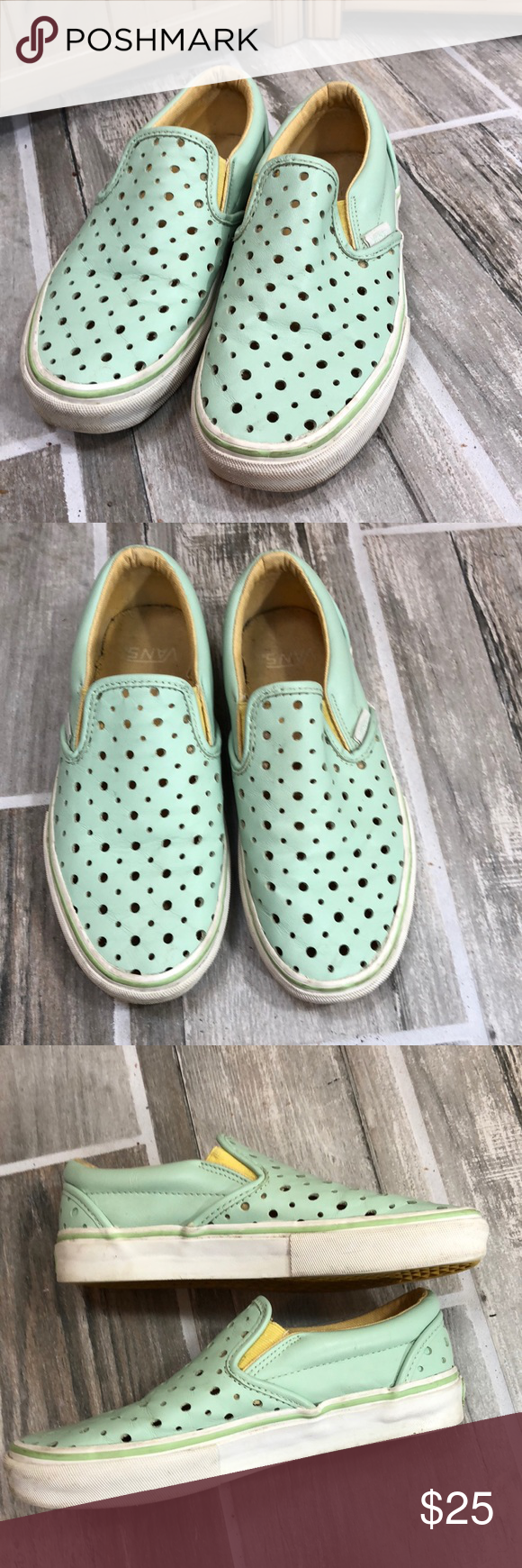 ba0d3ee72bc8 Vans Mint Green Leather Slip On Sneakers Mint green leather with swiss  cheese perforated holes. Classic slip on. Preowned with gentle signs of  wear.