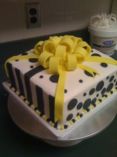 Yellow And Black Fondant Cake With Bow Made In Florida