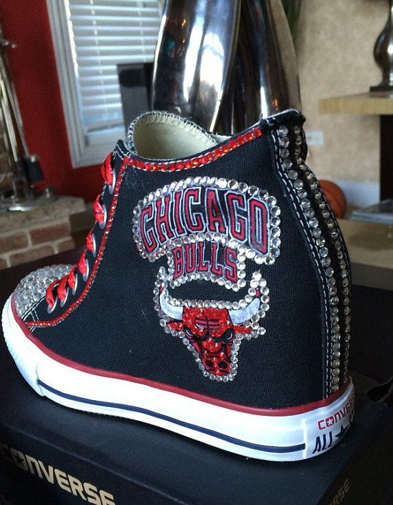 Crystalized Chicago Bulls Converse w/hidden by ShowUpandShowOut