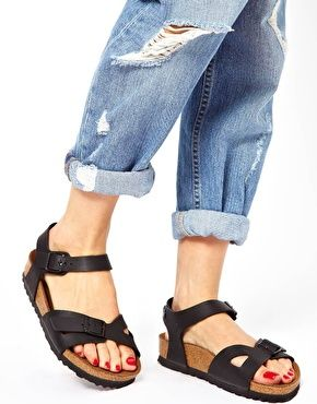 59f7382636d84a Enlarge Birkenstock Rio 2 Strap Black Sandals | Shoes ...