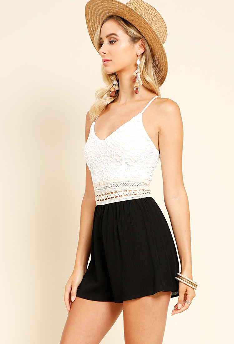 Crochet-Trimmed Lace Overlay Romper