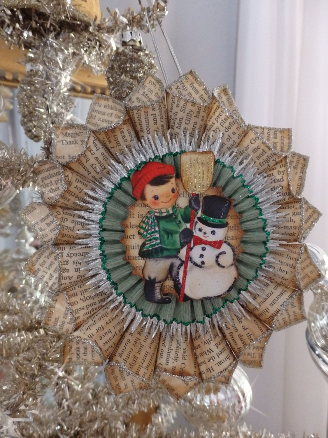 Vintage style boy with snowman christmas ornament by stacy marie by