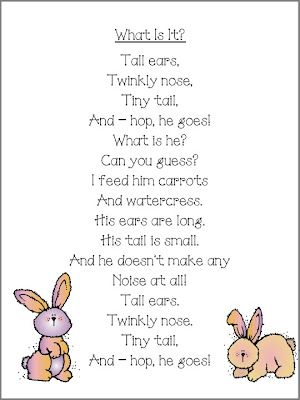 Bunny Poem | Kids poems, Kindergarten poems, Preschool poems