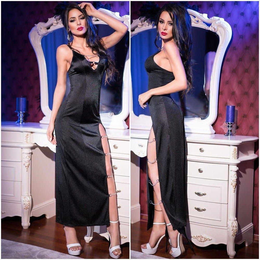 CR4164 Langes Kleid schwarz von Chilirose Dessous ...