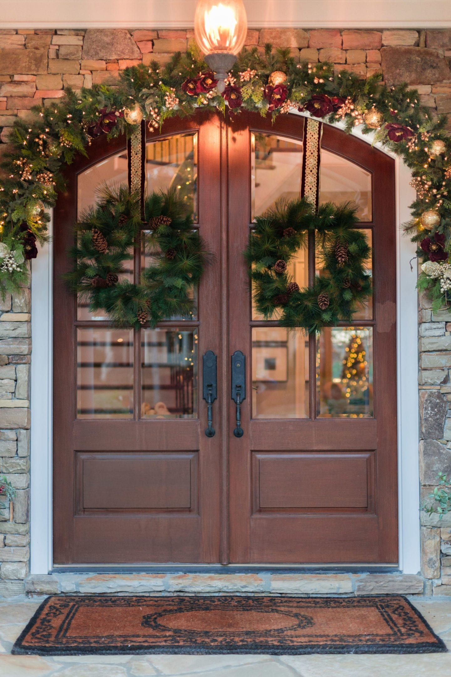 how to hang garland outside   Christmas porch, Christmas door decorations, Door wreaths