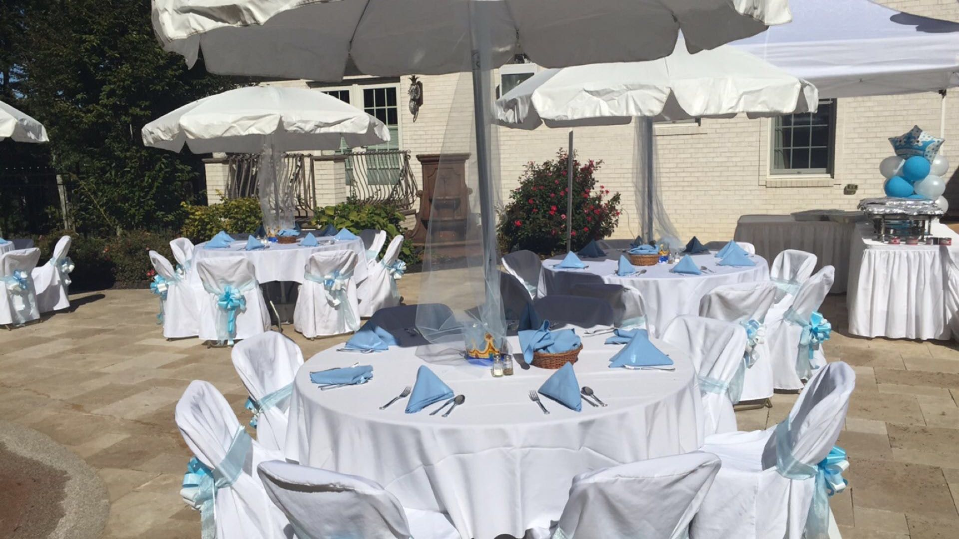 Gorgeous white and Baby blue tables for the baby shower