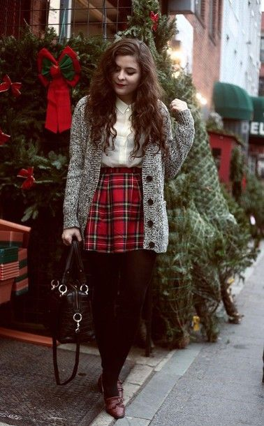 Cardigan: tumblr holiday season holidays christmas tartan plaid skirt  tartan skirt plaid mini skirt - Cardigan: Tumblr Holiday Season Holidays Christmas Tartan Plaid