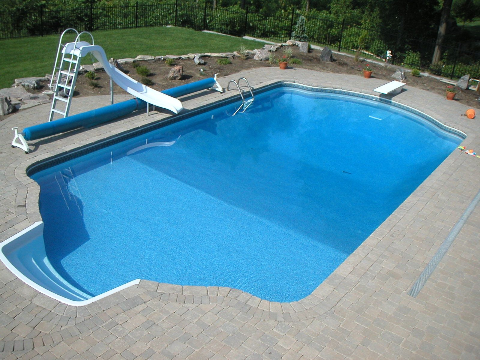 20x40 roman end with lockstone finish inground swimming for 16x32 pool design