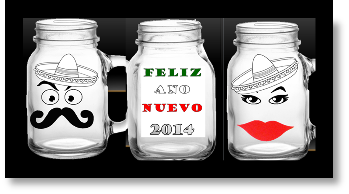Mexican theme New Years Eve party mugs | Wine candle holder