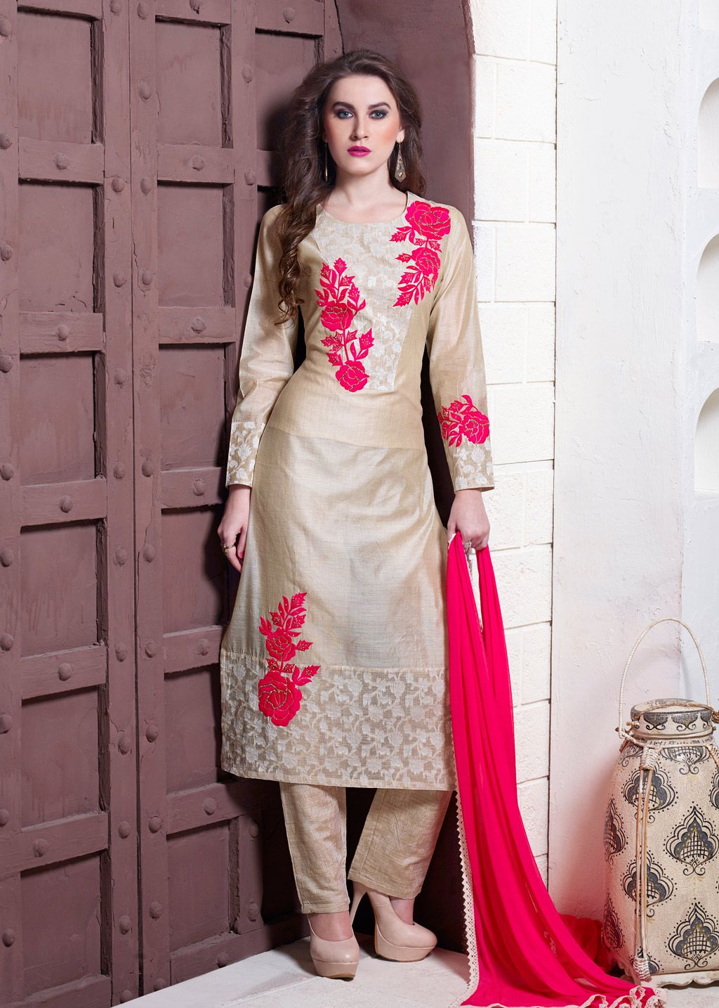 efc49c12ed Beige Tussar Silk Readymade Pakistani Style Suit 70223 | Ready Made ...
